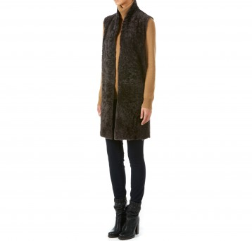 Gushlow and Cole brown merinillo shearling sheepskin long gilet