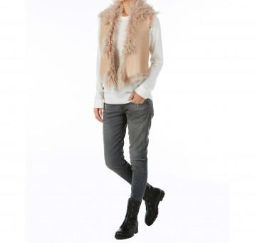 Gushlow and Cole cream curly toscana shearling sheepskin cropped gilet