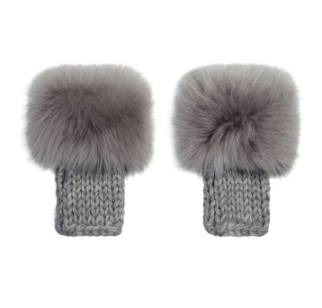 Gushlow and Cole Mid Grey Toscana Knitted Mittens