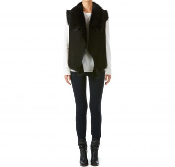 Gushlow and Cole black toscana shearling sheepskin gilet with knitted back