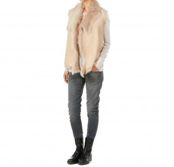 Gushlow and Cole cream toscana shearling sheepskin gilet with knitted back