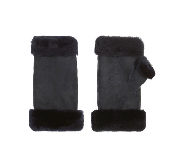Gushlow and Cole Black Fingerless Merino Mittens