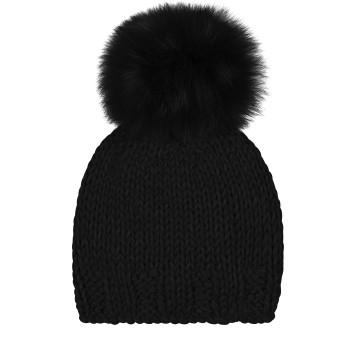 Gushlow and Cole hand knitted shearling sheepskin black beanie