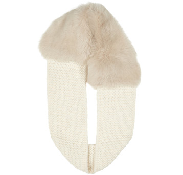 Gushlow and Cole shearling sheepskin cream knitted scarf