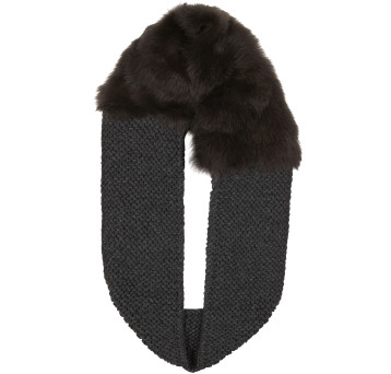 Gushlow and Cole shearling sheepskin brown knitted scarf