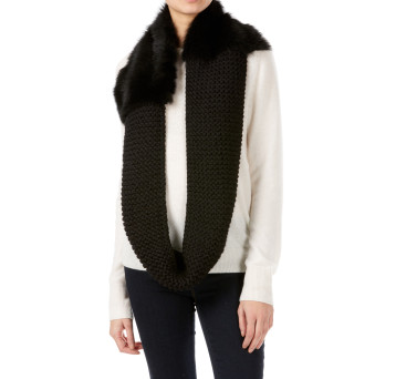 Gushlow and Cole shearling sheepskin black knitted scarf