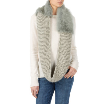 Gushlow and Cole shearling sheepskin knitted scarf