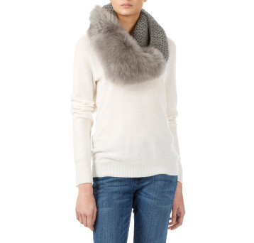 Gushlow and Cole shearling sheepskin grey knitted scarf