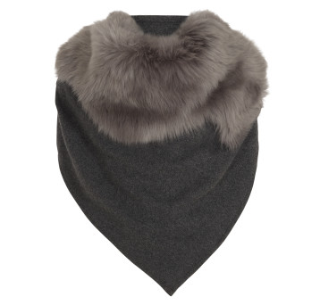 Gushlow and Cole Cashmere and Toscana Shearling Triangle Scarf in Lady Grey