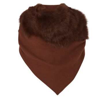 Gushlow and Cole Cashmere and Toscana Shearling Triangle Scarf in Toast