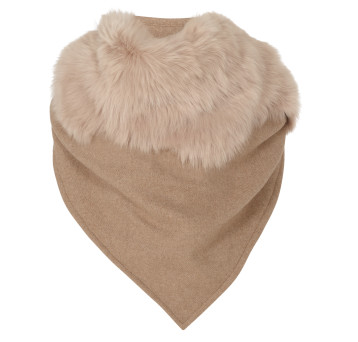 Gushlow and Cole shearling sheepskin beige cashmere scarf