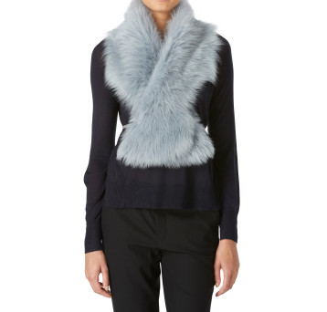 Gushlow and Cole Shearling Shawl Scarf Pale Blue