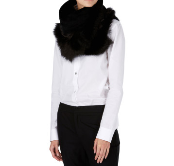 Gushlow and Cole Shearling Baby Mixed Scarf in Black