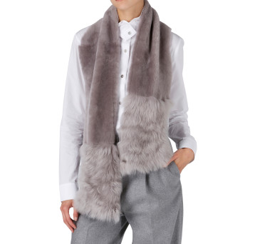 Gushlow and Cole Shearling Baby Mixed Scarf in Lavender Grey