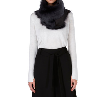 Gushlow and Cole Shearling Button Snood Scarf in Graphite