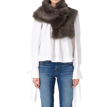 Gushlow and Cole Shearling Button Snood Scarf in Moss