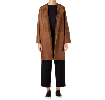 Gushlow and Cole Shearling Collarless Taper Coat in Hazel