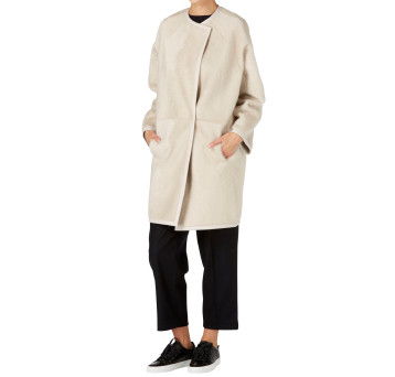 Gushlow and Cole Shearling Collarless Taper Coat in Chalk