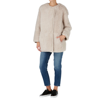 Gushlow and Cole Shearling Collarless Taper Jacket in Chalk Athena