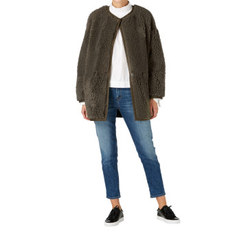 gushlow and cole shearling athena collarless taper jacket - moss