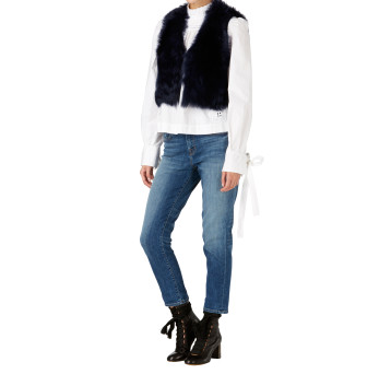 Gushlow and Cole Shearling Crop Gilet in Midnight