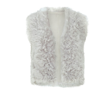Gushlow and Cole Cool Grey Curly Toscana Cropped Gilet