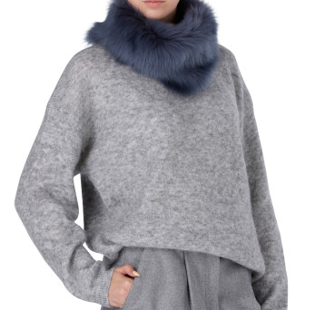 Gushlow and Cole Shearling Donut Scarf Denim