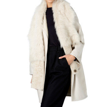 Gushlow and Cole Shearling Gilet Scarf in Chalk