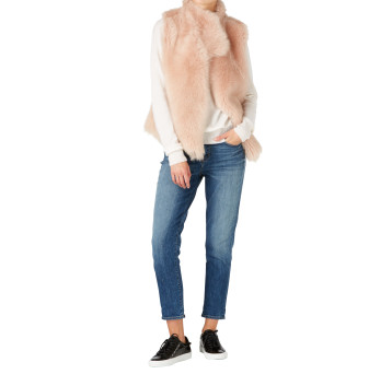 Gushlow and Cole Shearling Knit Back Gilet in Blossom