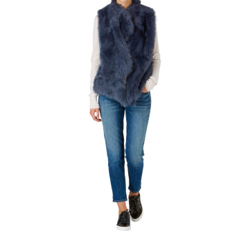 Gushlow and Cole Shearling Rough Cut Gilet in denim