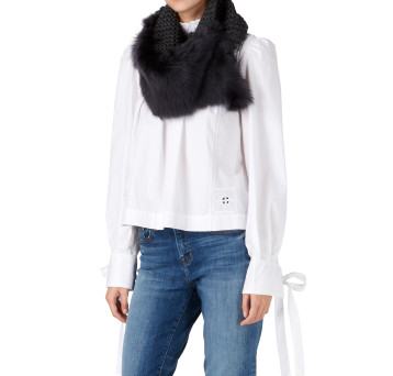 Gushlow and Cole Shearling Knit Snood Scarf in Graphite