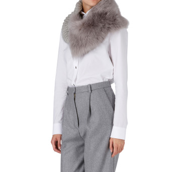 Gushlow and Cole Shearling Knit Snood Scarf in Lavender Grey