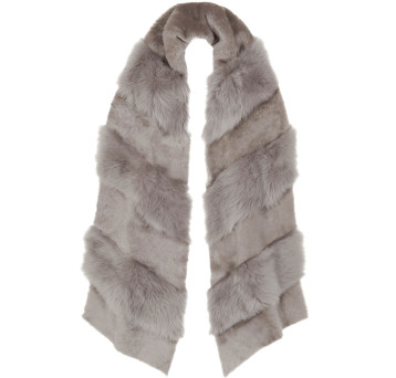 Gushlow and Cole Shearling Chevron Scarf Lavender Grey
