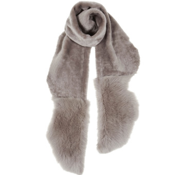 Gushlow and Cole Shearling Mixed Scarf Lavender Grey