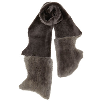 Gushlow and Cole Shearling Mixed Scarf Moss Ash