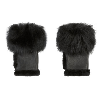Gushlow and Cole Shearling Cuffed Mini Mittens in Black