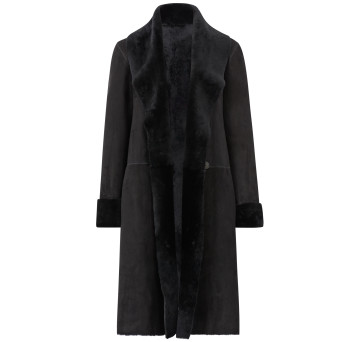 Gushlow and Cole Merino Shearling City Shawl Coat in Black