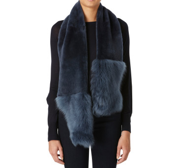 Gushlow and Cole Shearling Baby Mixed Scarf Denim