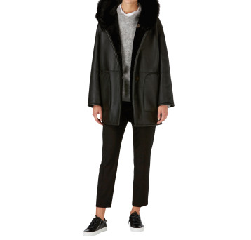 Gushlow and Cole Shearling Parka Coat in Black