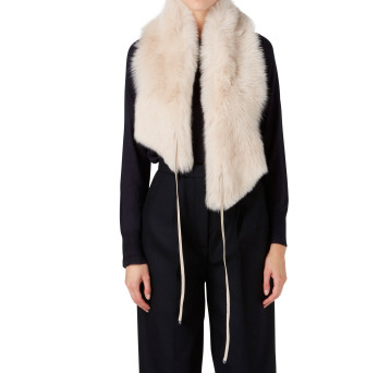 Gushlow and Cole Shearling Shawl Scarf in Birch