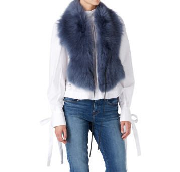 Gushlow and Cole Shearling Shawl Scarf in Denim