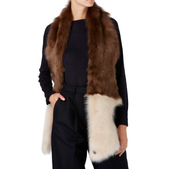 Gushlow and Cole Shearling Split Scarf in Hazel and Birch