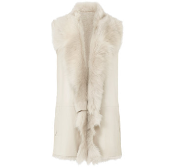 Gushlow and Cole Mixed Shearling Gilet in Chalk