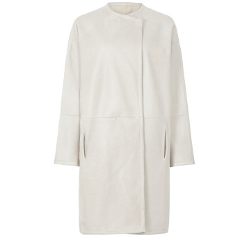 Gushlow and Cole Shearling Collarless Taper Coat Chalk