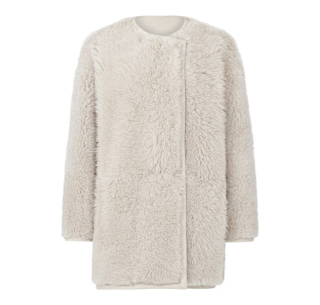 Gushlow and Cole Shearling Collarless Taper Jacket Chalk