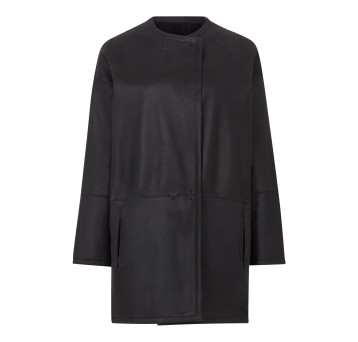 Gushlow and Cole Shearling Collarless Taper Jacket in Graphite