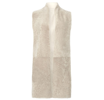 Gushlow and Cole Shearling Crombie Gilet in Chalk