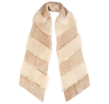 Gushlow and Cole Shearling Chevron Scarf in Birch