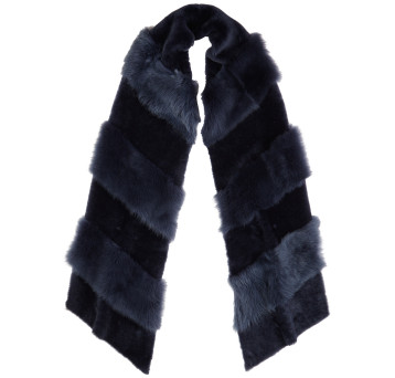 Gushlow and Cole Shearling Chevron Scarf in Denim