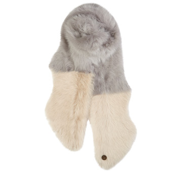 Gushlow and Cole Shearling Split Scarf in Lavender Grey and Birch
